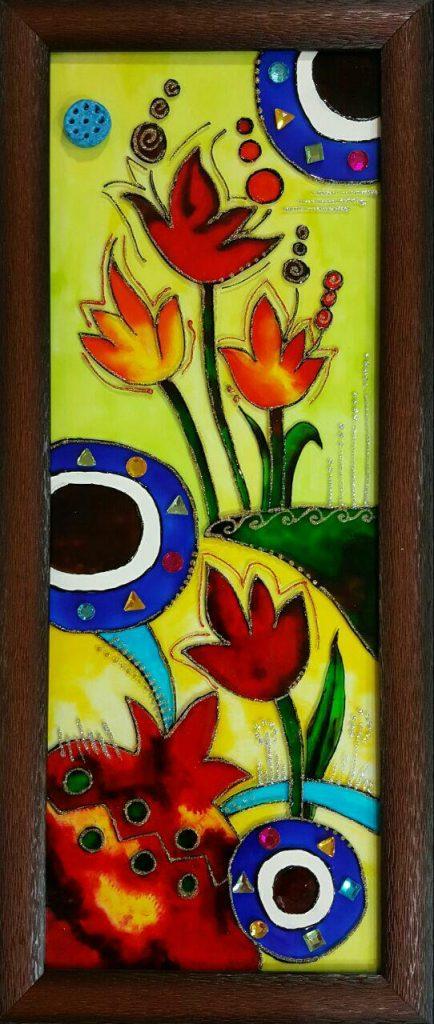تابلو ویترای - طرح گل و انار
