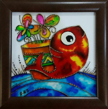 تابلوی ویترای - طرح گل و ماهی