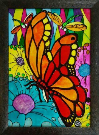 تابلو ویترای - طرح گل و پروانه