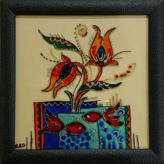 تابلو ویترای - طرح گل و ماهی