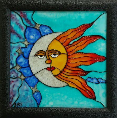 تابلو ویترای - طرح ماه و خورشید