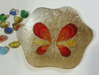 پیش دستی شیشه ای - طرح پروانه